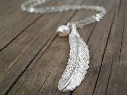 long necklace silver images Long silver necklace silver feather necklace feather jpg