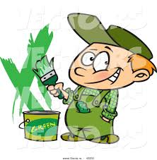 painting a wall vector of a smiling cartoon boy painting a wall green by toonaday