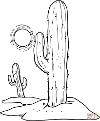 sun over desert cactuses coloring page free printable coloring pages