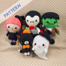 amigurumi witch pattern crochet halloween patterns set of 5 ghost witch vire cat
