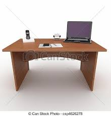 bureau laptop 3d office desk with laptop isolated on white stock illustration