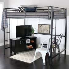 Loft Bed With Desk On Top Amazon Com We Furniture Full Size Metal Loft Bed Back Kitchen