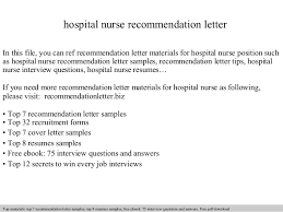 ideas of nursing recommendation letter example for job summary