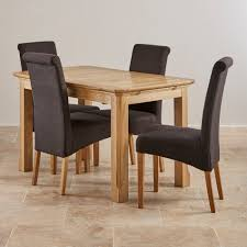 Natural Solid Wood Furniture Chunky 4ft Solid Oak Dining Table 4 Cream Leather Scroll Solid