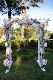 flower balls will curly willow and hanging pearls for arch at