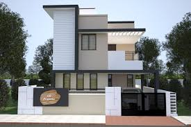 front elevation of small duplex house bracioroom