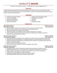 Sales Resume Example by Best Rep Retail Sales Resume Example Livecareer