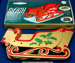 boxed woolworth decoration folding wooden sleigh tpnc