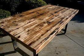 hand made rustic recycled butcher block dinning table by the