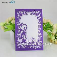 butterfly invitations 50pcs free shipping laser cutting flowers and butterfly design