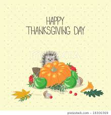 happy thanksgiving day gift card with hedgehog stock