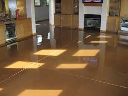 kitchen floor brown cabinets concrete floor stain and high gloss