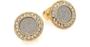 studded earrings lyst abs by allen schwartz gold coast glitter halo stud earrings