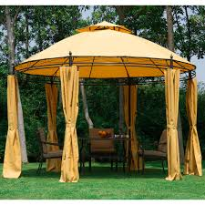 outsunny round outdoor patio canopy party gazebo with curtains