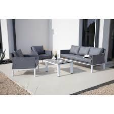canapé 3 places blanc salon 1 canapé 3 places 2 fauteuils 1 table basse gris et