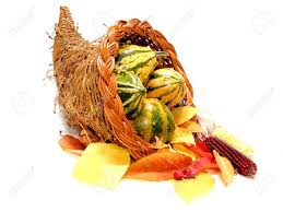 harvest cornucopia thanksgiving or harvest cornucopia on a white background stock
