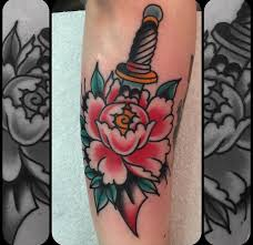 peony and dagger by nick mayes north sea tattoo scarborough