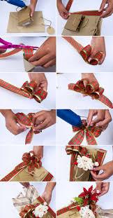 diy christmas gift wrap ideas bags santa red ribbon poinsettia