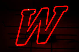 vintage red letter w neon sign man cave bar wisconsin winston