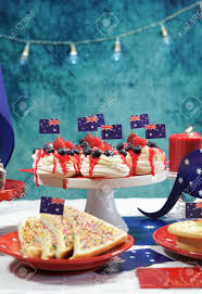 Dessert Flags Australian Theme Party Table With Flags And Iconic Food Including