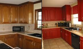 Red Painted Kitchen Cabinets by Painted Kitchen Cabinets Before And After Green Painted Kitchen