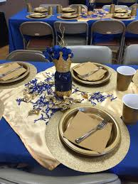 royal blue table setting mason jar centerpiece babyshower
