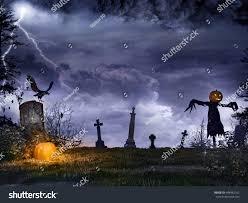 night scene glowing pumpkin tombstones scarecrow3d stock