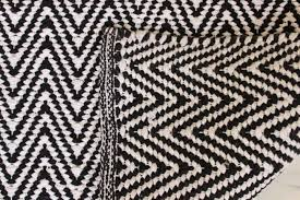 2 meter chevron zig zag floor runner black white woven