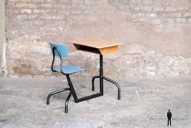 bureau d 馗olier ancien en bois 1 place bureau ancien d écolier 1 place bleu bois et métal http