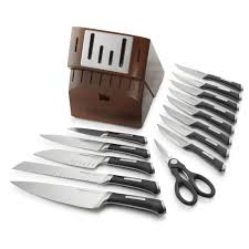 self sharpening kitchen knives precision sharpin 15 pc self sharpening knife block set