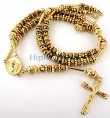 all gold rosary necklace images All gold raw ice bling bling rosary necklace blingblowout jpeg