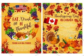 thanksgiving day vector canadian greeting posters illustrations