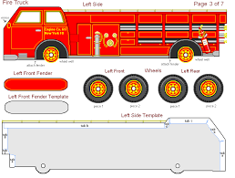 free printable 3 paper fire truck kids teachers
