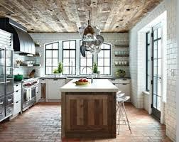 cuisine rustique blanche cuisines cuisine rustique avec paves au sol et parquet plafond