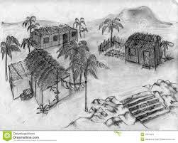 village drawing sketch beautiful landscape of winter village