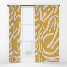 blue and mustard window curtains society6