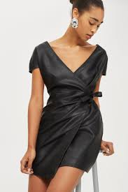 leather dress faux leather wrap mini dress topshop usa