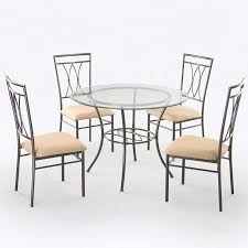 Metal Dining Chairs Mainstays 5 Glass And Metal Dining Set 42 Tabletop