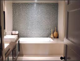 bathroom alcove bathtub grey blue turqoise pattern backsplash