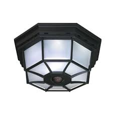 360 degree 4 light black motion activated octagonal ceiling light