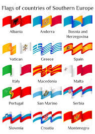 Flags Of European Countries Set Of Flying Flags Of Southern Europe Countries In Waves Isolated