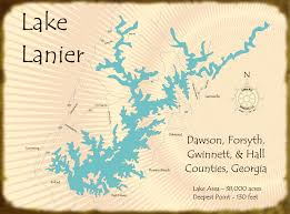 lake lanier map wood lake and house signs