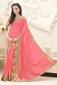 Pink Color Indian Women Grey And Pink Color Georgette Full Saree