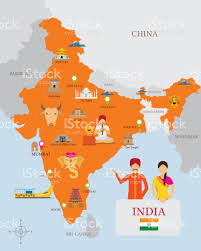 Chennai India Map by India Map And Icons With People In Traditional Clothing Stock