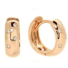 huggie earrings high polished diamond hoop huggie earrings 14k pink gold
