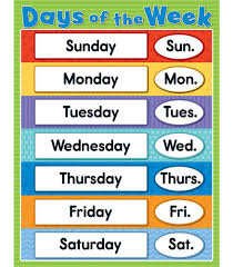 days of the week chart grade k 4 carson dellosa publishing