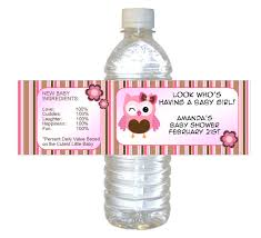 vintage owl baby shower invitations personalized pink owl baby shower waterproof water bottle