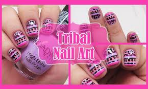 diy tribal nail art pink u0026 purple nails youtube
