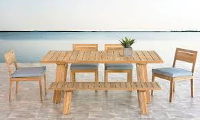 Teak Outdoor Dining Table And Chairs Bermuda 6 Teak Outdoor Dining Set The Dump America S