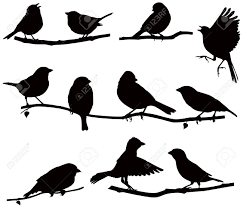 vector images silhouettes of birds on a branch royalty free cliparts